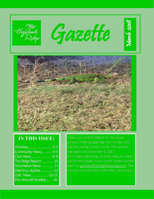 March 2018 Gazette