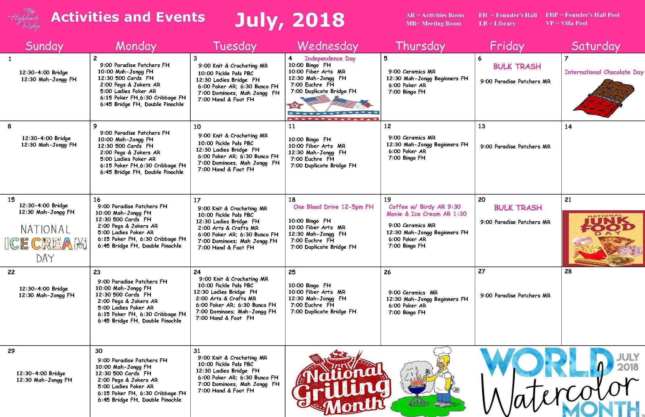 July 2018 Activities Calendar