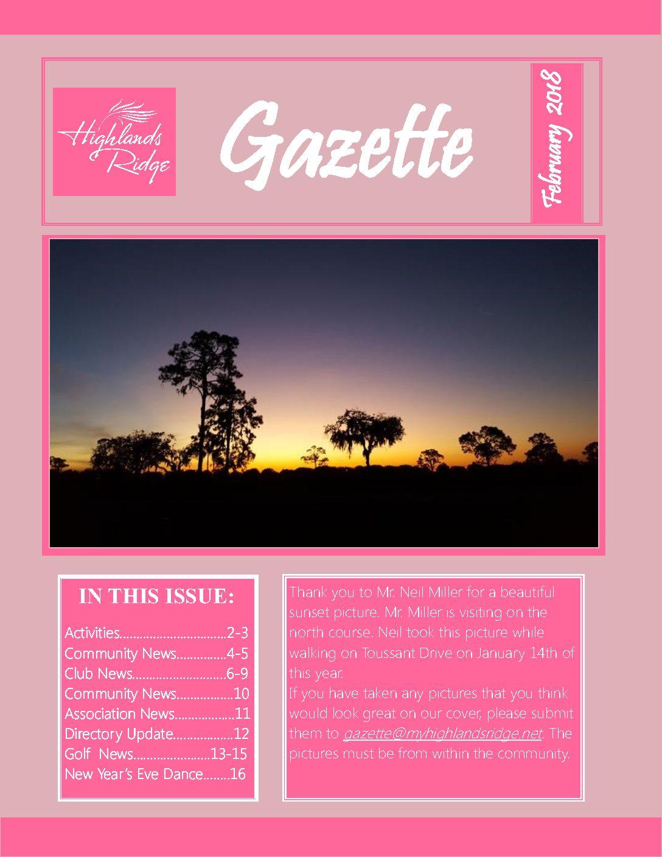 February 2018 Gazette