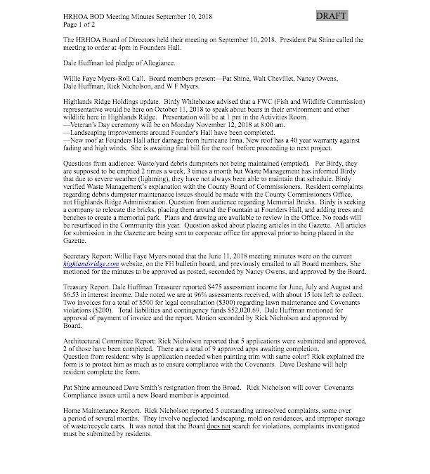 HRHOA BOD Meeting Minutes September 2018