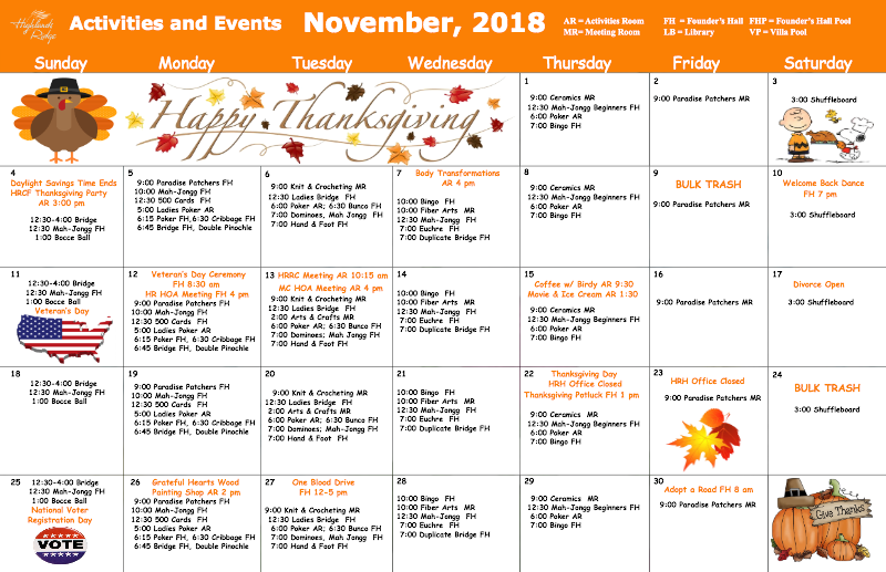 November 2018 Activities and Events