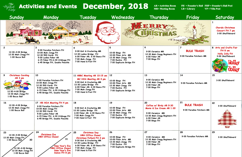 December 2018 Activities and Events
