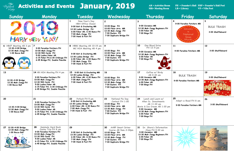 January 2019 Activities and Events