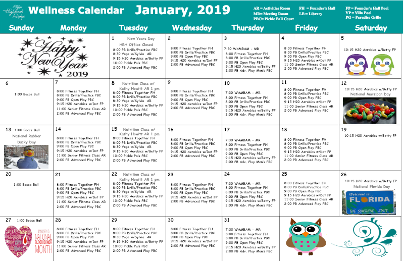 January 2019 Wellness Calendar