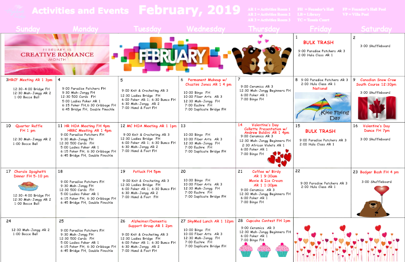 February 2019 Activities