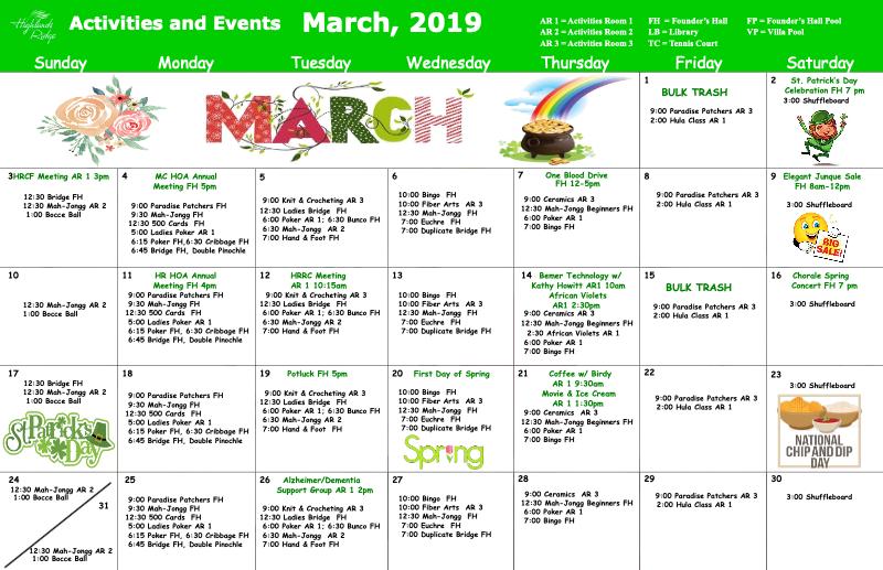 March 2019 Activities Calendar