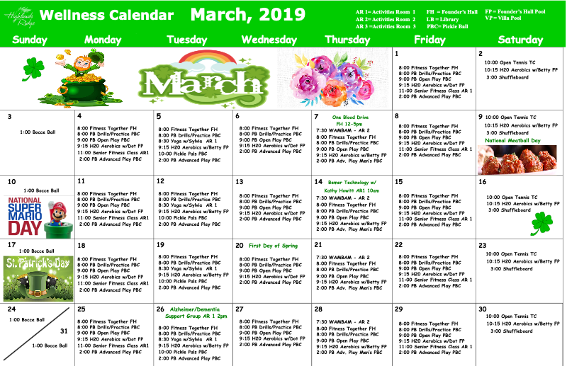 March 2019 Wellness Calendar