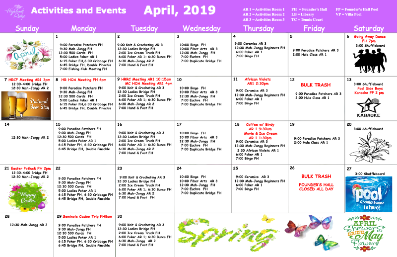 April Activities & Wellness Calendar