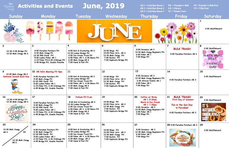 June 2019 Activities Calendar
