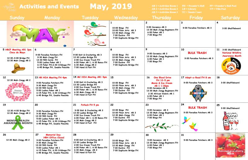 May 2019 Activites Calendar