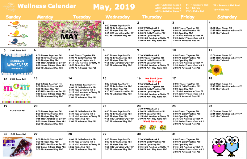 May 2019 Wellness Calendar