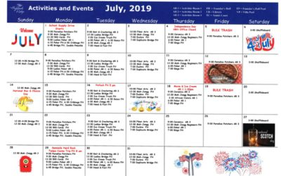 July 2019 Activites Calendar