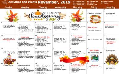 November 2019 Activities & Wellness Calendar