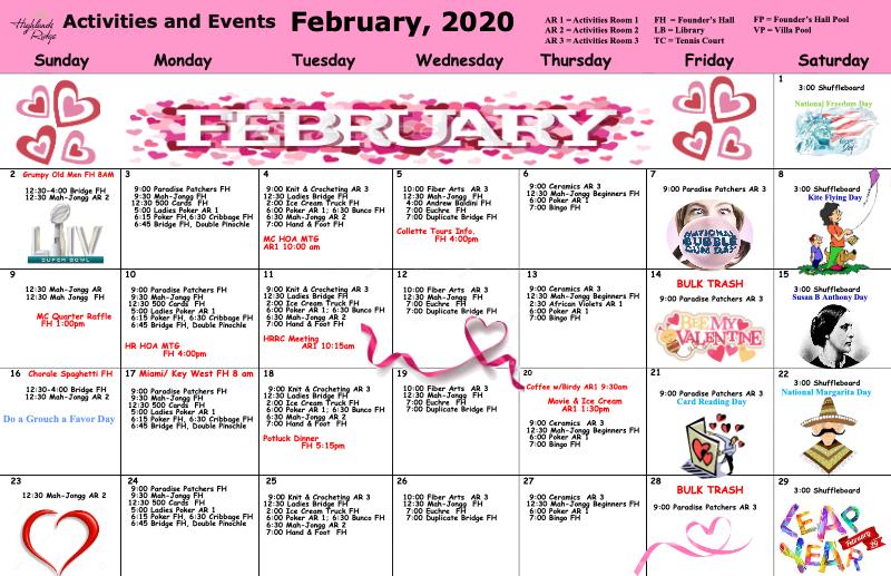 Feb 2020 Activities Calendar