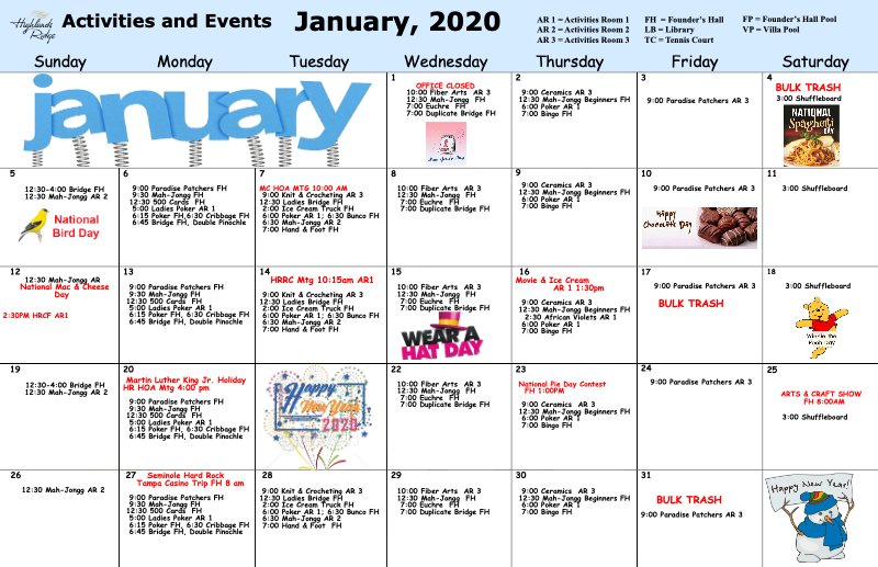 January 2020 Activities Calendar