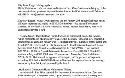 February 2020 Minutes