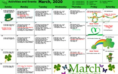 Activities and Wellness Calendar March 2020