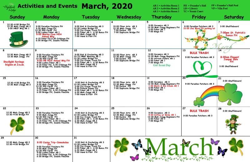 Activities and Wellness Calendar March 2020